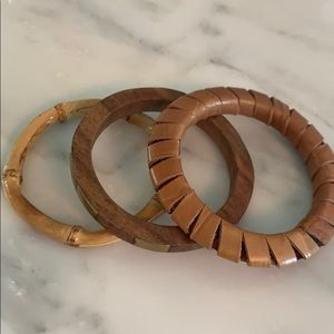 Jewelry - Three bracelets. Wood. Bamboo and leather.
